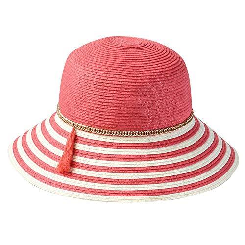 Yarmy hoeden voor dames, Vrouwelijke zomer stro hoed groot langs wastafel hoed vakantie vouwen Beach hoed gemakkelijk te vouwen en outdoor reizen essentieel