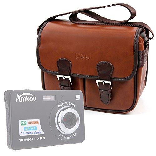 DURAGADGET Bolsa Profesional para cámara Fujifilm FinePix T500, X-A3, X-T10, X-T2 | Vivitar S126, Yi M1 / Amkov/Andoer CDC32 Marrón, con Compartimentos