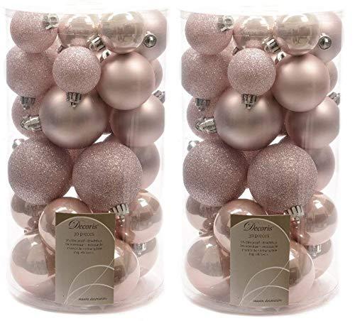 Christbaumkugeln, bruchsicher, Rosa, 2 x 30 Stück