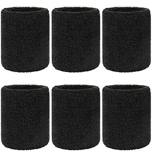 H&S Sweat Bands Men Women Wrist 6pcs Wristbands Sweatbands Absorbent for...