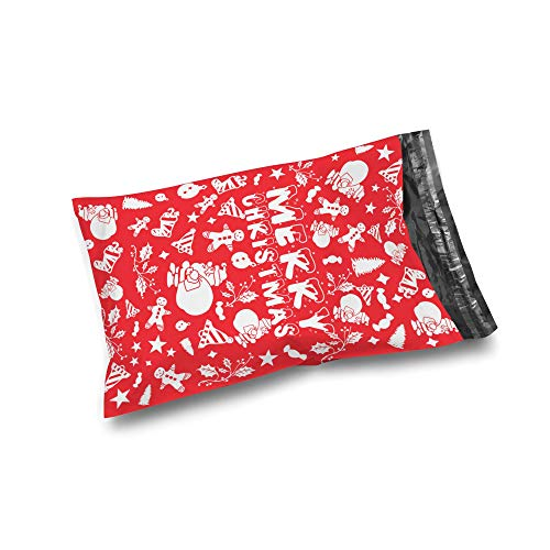 Shop4Mailers 10 x 13 Merry Christmas Red Holiday Cluster Poly Bag Mailer Envelopes 2 Mil (100 Pack, Merry C.)