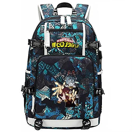 ZZGOO-LL My Hero Academia Deku/Midoriya Izuku/Tokoyami Fumikage USB Anime Mochilas Moda Viaje Mochila Informal Negocios Universidad Unisex-A