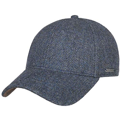 Stetson Plano Wool Cap Herren - Baseballcap mit Schirmunterseite aus Leder- Herrencap Herringbone Design - Kappe mit Baumwollfutter - Basecap Herbst/Winter - Wintercap dunkelblau L (58-59 cm)