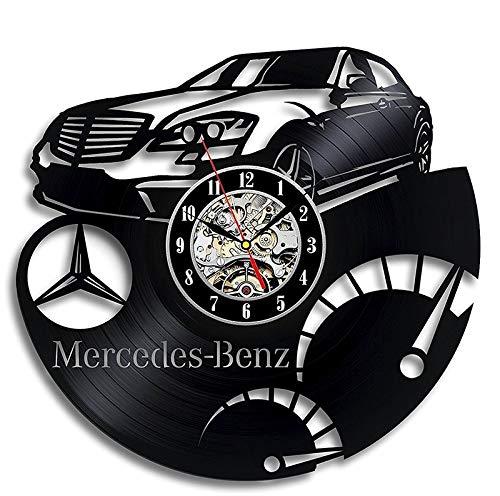 FANCYLIFE Reloj de Pared con Registro de Vinilo de Mercedes Benz: decore su hogar con Modern Art-Gift para Hombres y Mujeres
