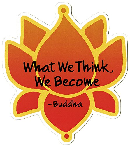Coconut Creations What We Think, We Become - Buddha - with Lotus Flower - Spiritual Small Bumper Sticker or Laptop Decal (3.5' x 4')