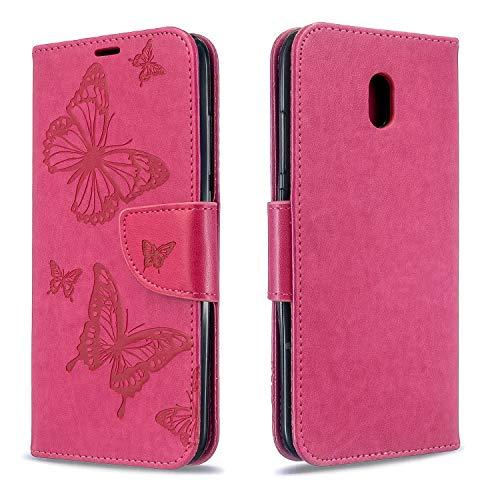 Hülle für Xiaomi Redmi 8A Lederhülle Flip Tasche Klappbar Handyhülle mit [Kartenfächer] [Ständer Funktion], Cover Schutzhülle für Xiaomi Redmi 8A - JEBF080824 Rosa Rot