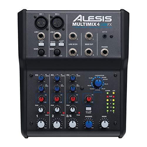 Alesis MultiMix 4 USB FX – Mixer Audio a 4 Canali da Studio con Effetti Integrati e Scheda Audio USB per il live e l'Home Recording