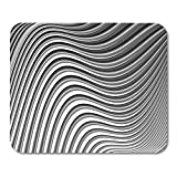 Yanteng Mouse Pads Arch Black Abstraction Design Monochrome Parallel Waving Lines Resumen Twisted White ARC Bend Mouse Pad para portátiles