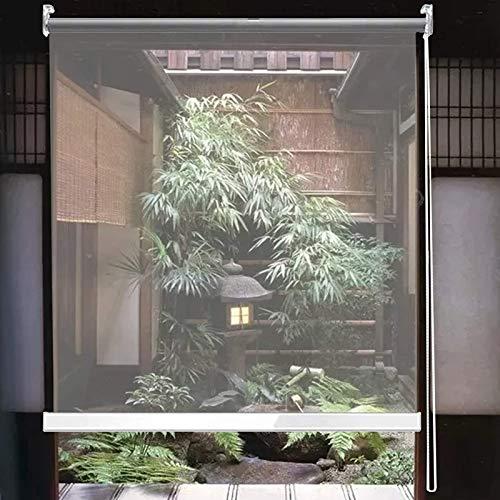HYDT Store en bambou Extra Breite wasserdichte Transparente PVC-Rollläden, Hotelrezeption Partition Clear Roll Up Blind, 80/90/100/120/140 cm Breit (Size : 80×100cm(31.5 in×39.3 in))