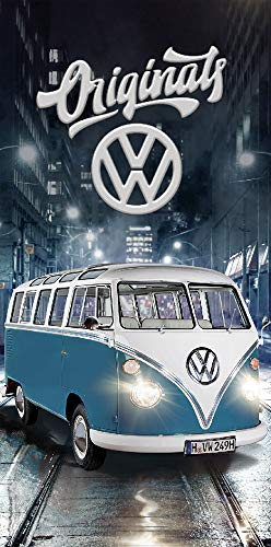 ORIGINAL - Serviette de bain - VW BULLI - 75 x 150 cm - Boîte originale - 100 % coton - Volkswagen modèle exclusif T1 - Bleu - Serviettes de plage