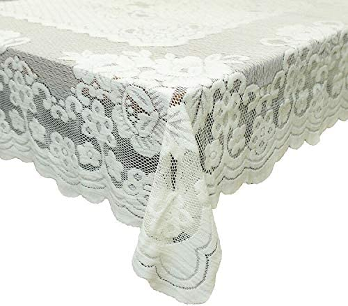 GEFEII White Lace Tablecloth Rectangular for Rectangle Table Cro