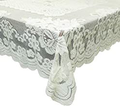 "GEFEII Kitchen Tablecloths For Rectangle Tables White Lace Linen Tablecloth Oblong Size 60"" X 104"" For Party Banquet Dinin..."