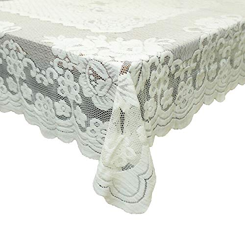 "GEFEII Kitchen Tablecloths For Rectangle Tables White Lace Linen Tablecloth Oblong Size 60"" X 104"" For Party Banquet Dining Wedding Decorations"