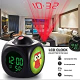 GIRLSIGHT Alarm Clock Multi-Function Digital LCD Voice Talking LED Projection Wake Up Bedroom with Data and Temperature Wall/Ceiling Projection,owl-332.owl Colorful Funny