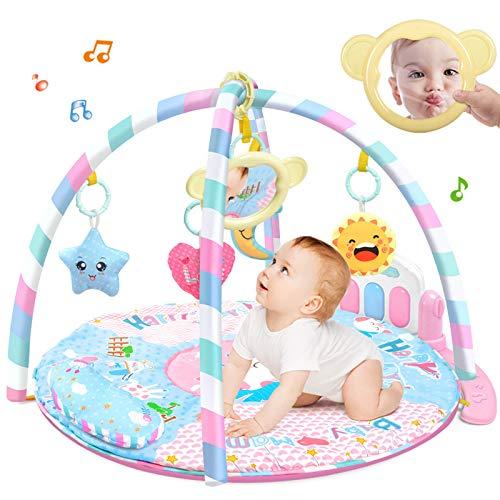 XLLLL Alfombrilla De Gimnasio para Bebé, Alfombrilla De Actividad Física para Bebés, Alfombrilla De Desarrollo De Juguete De Cuna De Dibujos Animados,Pink