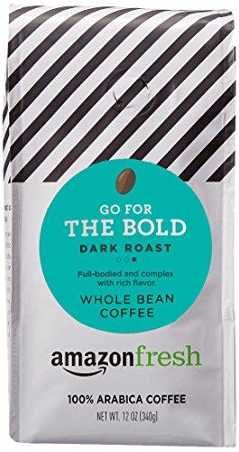 AmazonFresh Dark Roast Whole Bean Coffee, 12 Ounce (Pack of 1)