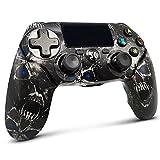 Lioeo Mando para PS4 Inalambricos, Mando para PS4 Gamepad de Doble Vibración Shcok Six-Axis con Touch Pad y Conector de Audio para Playstation 4 / PS3 / PC (Cráneo Negro)