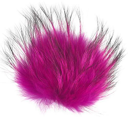 XL Bommel mit Anstecknadel Pelzbommel Fellbommel Pompon Pelz Fell Echtpelz Bommelmütze ! viele Farben ! (pink)