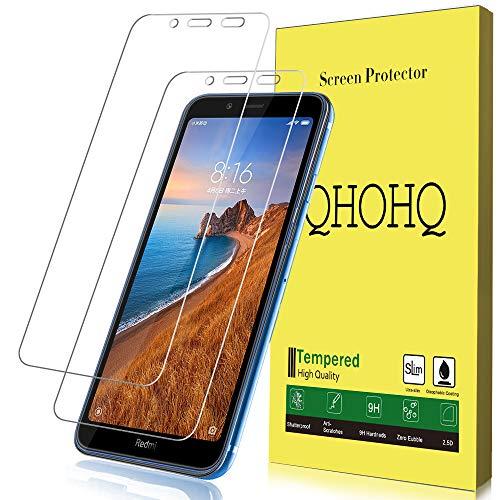 QHOHQ Panzerglas für Xiaomi Redmi 7A, [2 Stück] [9H Festigkeit] Blasenfrei Anti-Kratzen HD Transparent Schutzfolie