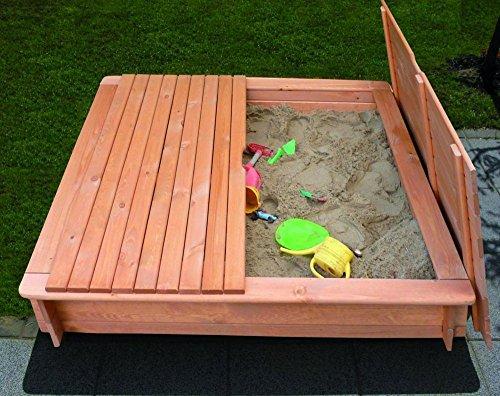 Promadino Sandkasten Modell Tessa 1 x 1 m imprägniertes Holz+Abdeckung Gartenspielzeug
