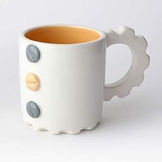 Taza de Cerámica hecha y pintada a mano, Disponible en varios colores, diseño mecánico – 200 ml (Gris, Color durazno)