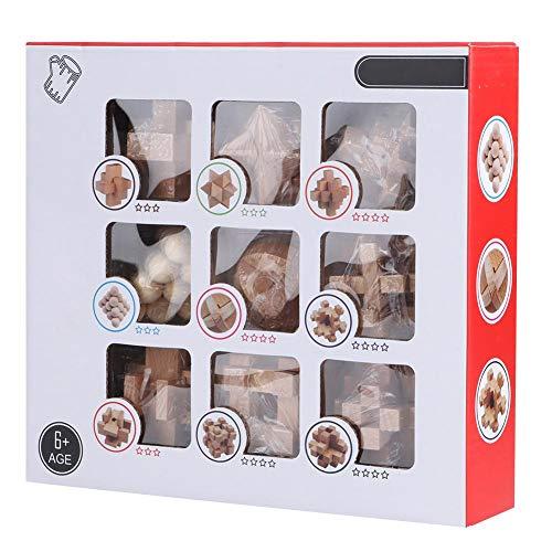 YOUTHINK 9Pcs Desarrollo Intelectual Puzzle Puzzle Wood Lock Toy Juego Educativo para Niños Adultos 6+(Juego de Nueve Piezas Con Cerradura Kongming)