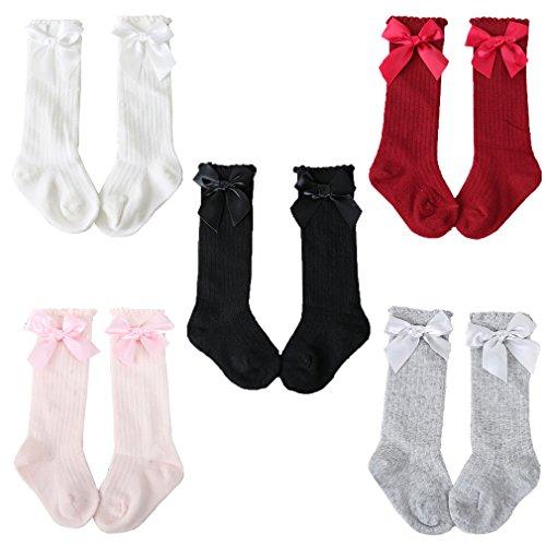 Z-Chen Pack de 5 Pares Calcetines altos de bebé niña con lazo, 0-2 Años