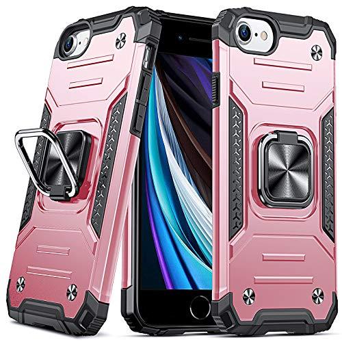 DASFOND Armor Hülle für iPhone SE 2020 iPhone 8/7/6S/6 Hülle Militärische Stoßfeste Handyhülle [Upgrade 2.0] 360 ° Ständer Cover für Magnet Handy Autohalterung, Roségold