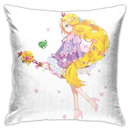 ChenZhuang Rapunzel - Fundas de almohada decorativas de algodón para salón, sofá, cama, fundas de almohada suaves, 45 x 45 cm