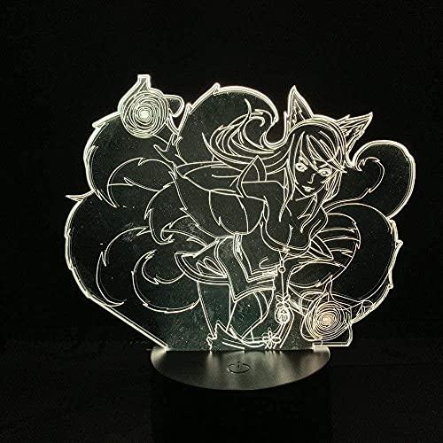 RenXin 3D ilusión lámpara anime figura de la Liga de leyendas ahri sexy raposa ambiente visual lámpara de mesa regalos para niños jugadores habitación iluminación decoración