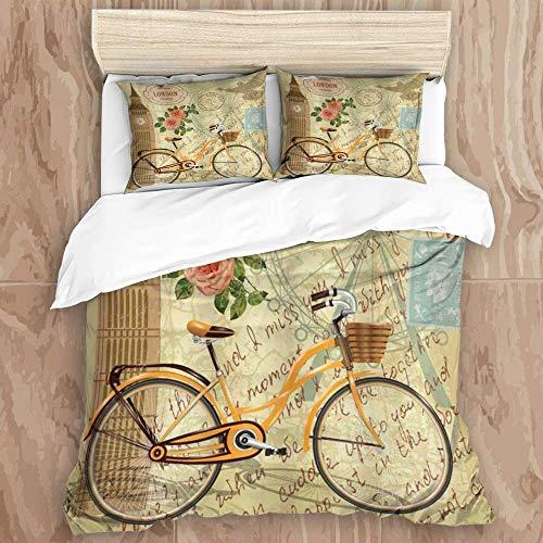 Juego de funda nórdica de 3 piezas y 2 fundas de almohada de fácil cuidado, diseño London Vintage con sello Big Ben y rosa en flor de bicicleta, elegante funda de edredón de microfibra de calidad de l