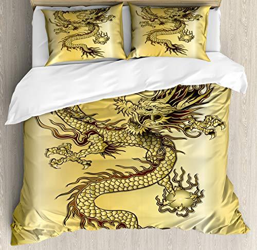ABAKUHAUS Drachen Bettbezug Set King Size, Chinesischer Ost-Mythos, Kuscheligform Top Qualität 3 Teiligen Bettbezug mit 2 Kissenbezüge, Senf Schwarz