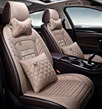 kangsheng Universal Flax car seat Cover for Mitsubishi Pajero 4 2 Sport Outlander XL ASX Montero Accessories Lancer 9 10 Carisma seat Cove (Beige,Including Pillows)
