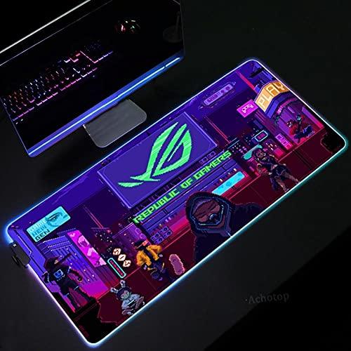 Podkładki pod mysz do gier neonowy widok nocny RGB podkładka pod mysz dla graczy LED podkładka pod mysz komputerową z podświetleniem dywan do klawiatury biurkowej - 50 cm x 90 cm