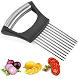 Food Slicer Assistant Tomato Meat Slicer Stainless Steel Onion Slicer Chopper Onion Vegetable Holder Cutting Kitchen Gadget Onion Peeler for Tomatoes, Carrots, Beets, Potatoes, Meat (1 Pack)