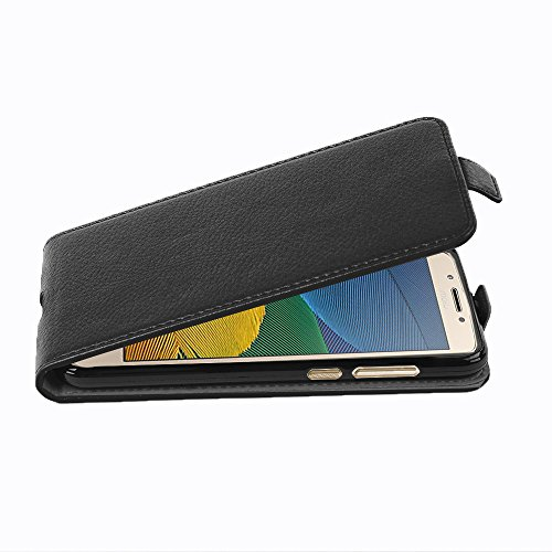Price comparison product image Cadorabo Case Works with Motorola Moto G5 in Oxide Black Flip Style Case Made of Structured Faux Leather Wallet Etui Cover Pouch PU Leather Flip