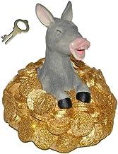 alles-meine.de GmbH Spardose Goldesel - mit Schlüssel - stabile Sparbüchse aus Kunstharz - Esel mit Gold Geld Sparschwein ...