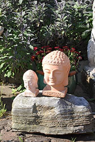 Kunert-Keramik Buddhaköpfe,2er Set,Terracotta,frostfest,23+13cm