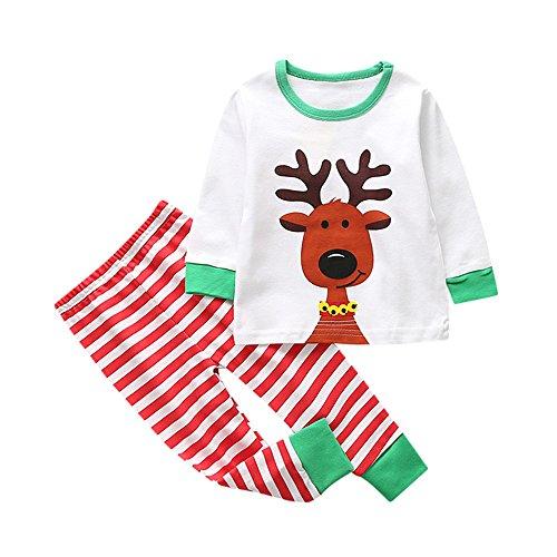 Luoluoluo Kerstkleding set voor baby jongens meisjes 1-5 jaar babykleding set 2 TLG tops en broeken set kinderen kerstkostuum pyjama set nachthemd