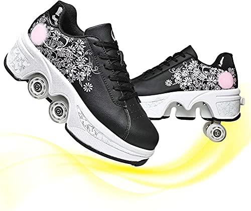 MQJ Skates Shoes Zapatos Patines de Rodillos de Cuatro Ruedas Extraíbles para Las Mujeres Al Aire Libre Y para Interiores Ajustable de Cuatro Ruedas Patines Premium para Mujeres para Hombres Menores