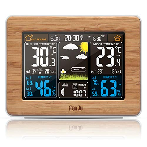 FanJu FJ3365W Funkwetterstation Funk mit Außensensor