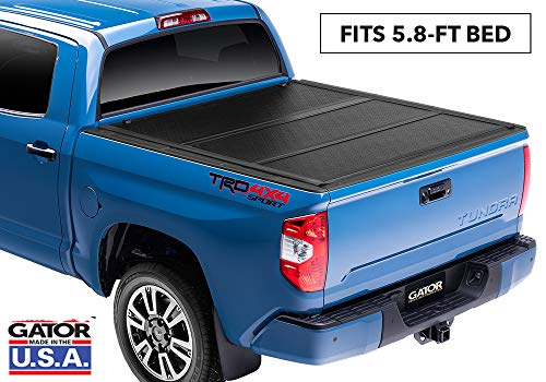 "Gator EFX Hard Tri-Fold Truck Bed Tonneau Cover | GC14018 | Fits 2014 - 2018, 2019 Ltd./Lgcy. Chevy Silverado Legacy/GMC Sierra Limited 1500 w/ rail system 5' 8"" Bed 