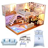 VanSmaGo Dollhouse Miniature Room Kit - DIY Mini Doll House with Furniture Accessories,Christmas Birthday Gifts for Boys Girls Friends