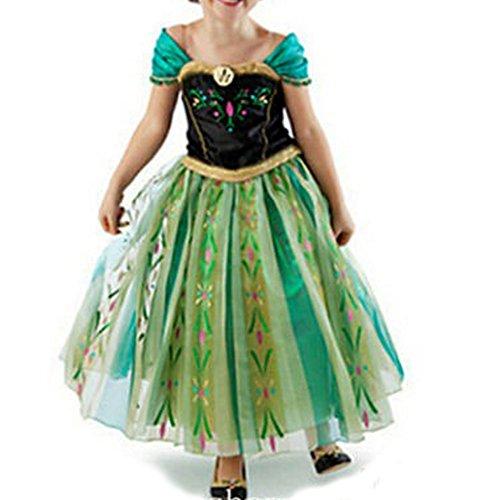 Cacilie® Prinzessin Kostüm Kinder Glanz Kleid Mädchen Weihnachten Verkleidung Karneval Party Halloween Fest (100 (Körpergröße 100cm), Anna #06)