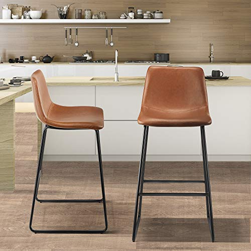 Kealive Bar StoolsSet of 2, Soft Leather Counter Height Bar stools with Backrest and Footrest, Modern Counter Stools Breakfast Bar Chairs for Dining Room, Kitchen Island, Antique Brown