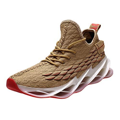 acction Zapatos Deportivos de Malla Tejida con Mosca Zapatos de Senderismo Transpirables de Moda Zapatillas de Deporte Casuales Hombres Zapatillas de Deporte cómodas