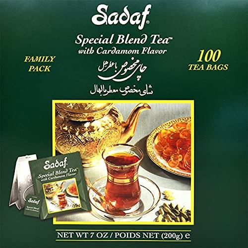 Sadaf Special Blend Cardamom Flavored Pure Ceylon Black Tea 100 Count (Foil), Harvested in Sri Lanks, (Pack of 1)