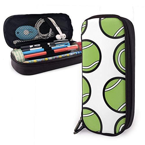 shenguang Pelota de tenis deporte lindo bolígrafo estuche para lápices de cuero 8 x 3,5 x 1,5 pulgadas estuche estuche para lápices con doble cremallera caja de soporte para escuela oficina