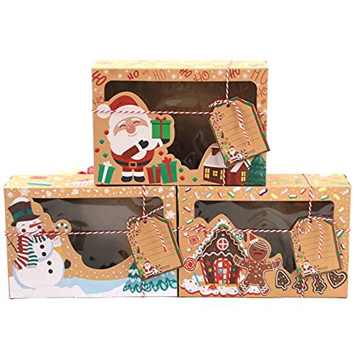 12 szt. bożonarodzeniowych pudełek na ciasteczka, świąteczne pudełka na tort z oknem, papier siarczanowy Boże Narodzenie pudełka na prezenty na Boże Narodzenie ciasto piekarnia czekolada cukierki