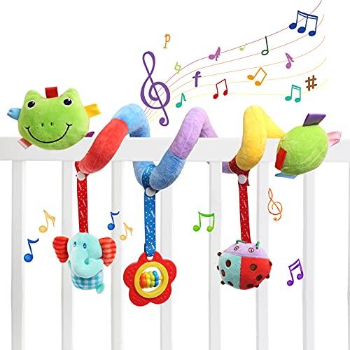 Ballery Espiral Actividades Colgar Juguetes, Juguete para Cochecito de Bebé asientocon Mordedor, Educativo Juguetes de Peluche para niños niñas